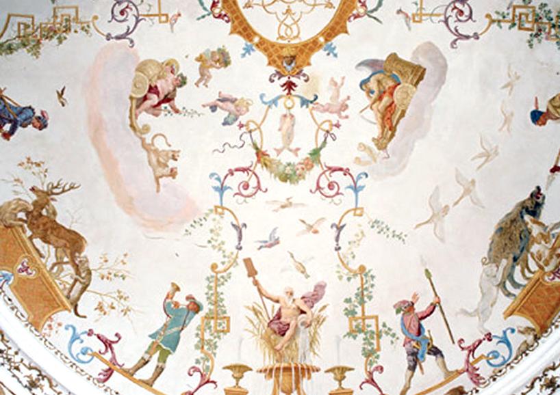 Fresken im Gartenpavillon ehemaliges Jagdschloss Prinzen Eugen, Obersiebenbrunn